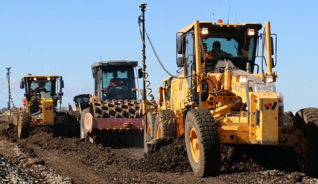 Earthmoving machinery on the job